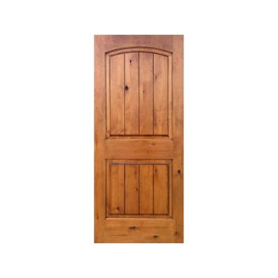 Krosswood Doors 32 In X 80 In Knotty Alder 2 Panel Top Rail Arch V Groove Solid Wood Left Hand