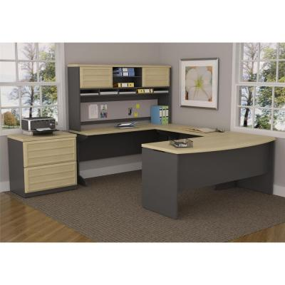 Pursuit 2-Drawer Lateral File Cabinet in Natural and Gray
