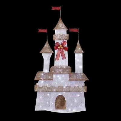 Home accents holiday 6 ft pre lit twinkling castle ty373 1411 the home depot for Home depot christmas decorations for the yard