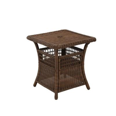 Superior Hampton Bay Spring Haven Brown All Weather Wicker Patio Umbrella Side Table