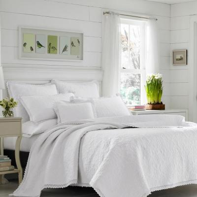 Heirloom Crochet White Floral Cotton Quilt Set
