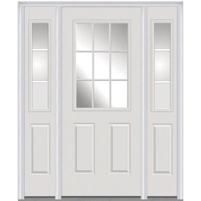 64 in. x 80 in. Classic Clear Glass GBG 1/2 Lite Painted Builders Choice Steel Prehung Front Door with Sidelites Product Photo