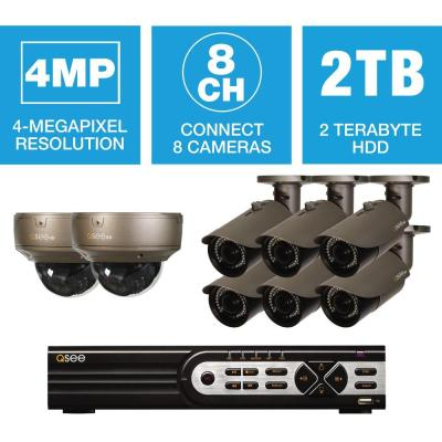 8-Channel 4MP IP Indoor/Outdoor Surveillance 2TB NVR System with (6) 4MP Bullet Cameras and (2) Dome Cameras Product Photo
