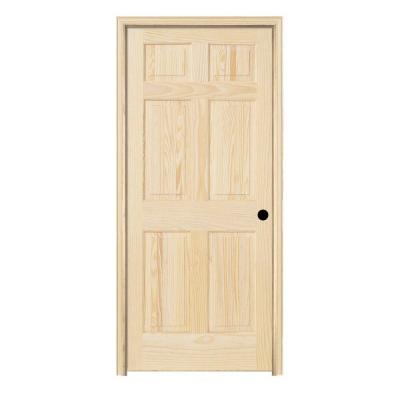 Jeld wen woodgrain 6 panel unfinished pine single prehung Home depot interior doors wood