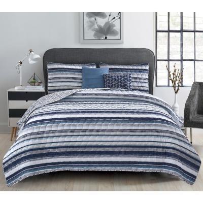 Celine 5-Piece Striped Blue Quilt Set