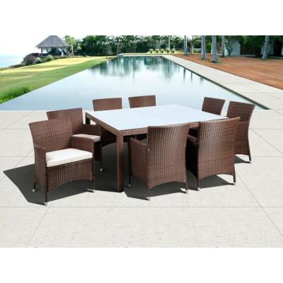 Atlantic Contemporary Lifestyle Grand New Liberty Deluxe Brown 9-Piece Square All-Weather Wicker Patio Dining Set with Off-White Cushions