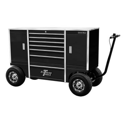Extreme Tools 70 in. 7-Drawer 2-Compartment Pit Box with Stainless Steel Work Surface and Hand-Controlled Disc Brake, Black