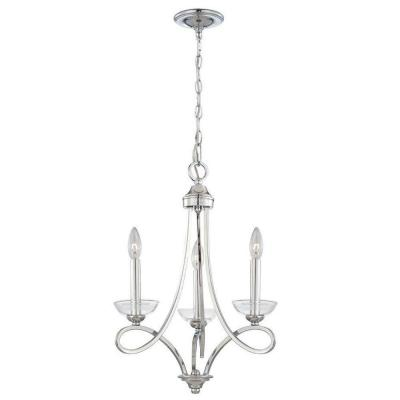 Eurofase Volte Collection 3-Light Polished Nickel Chandelier