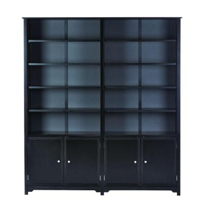 Oxford 5-Shelf Double Open Bookcase with Cabinet in Black Product Photo