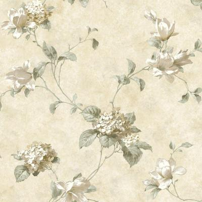 8 in. x 10 in. Magnolia Hydrangea Cream Trail Wallpaper Sample