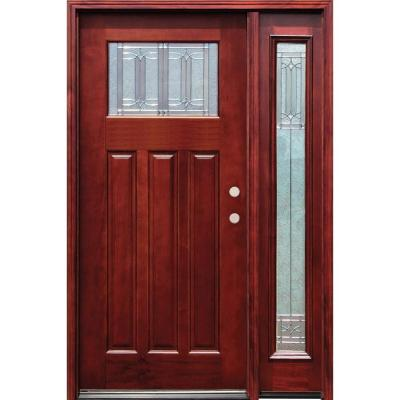 54 in. x 80 in. Diablo Craftsman 1 Lite Stained Mahogany Wood Prehung Front Door with One 14 in. Sidelite Product Photo