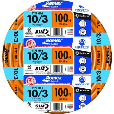 100 ft. 10/3 Solid SIMpull NM-B wire