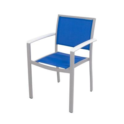 Bayline Textured Silver/White/Royal Blue Sling Patio Dining Arm Chair
