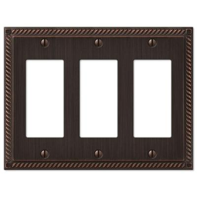 Georgian 3 Gang Decora Wall Plate - Aged Bronze