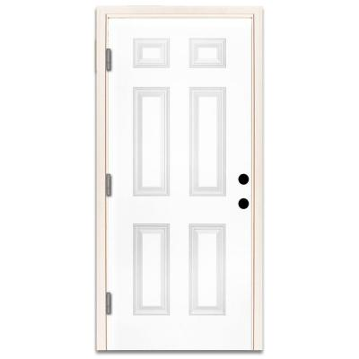 36 in. x 80 in. Premium 6-Panel Primed White Steel Prehung Front Door with 36 in. Right-Hand Outswing and 4 in. Wall Product Photo