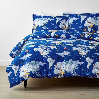 Company Kids™ Around The World Blue Multicolored Organic Cotton Percale Comforter Set