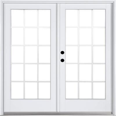 71-1/4 in. x 79-1/2 in. Fiberglass White Right-Hand Inswing Hinged Patio Door with 15 Lite External Grilles Product Photo