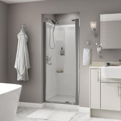 Lyndall 33 in. x 64-3/4 in. Semi-Framed Pivot Shower Door in