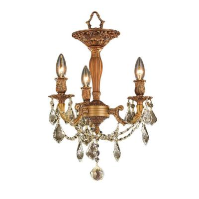 Windsor Collection 3-Light French Gold and Golden Teak Crystal Semi-Flush Mount
