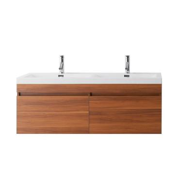 Virtu USA Zuri 54-11/16 in. Double Basin Vanity in Plum with Poly-Marble Vanity Top in White