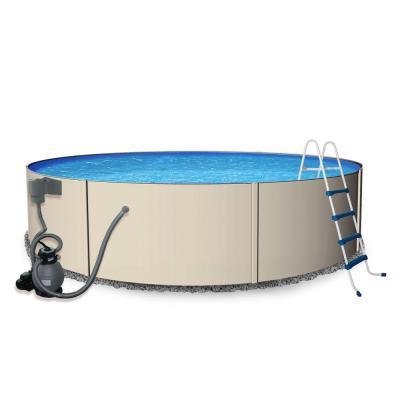 Rugged Steel 24 ft. Round 52 in. Deep Metal Wall Swimming Pool Package Product Photo