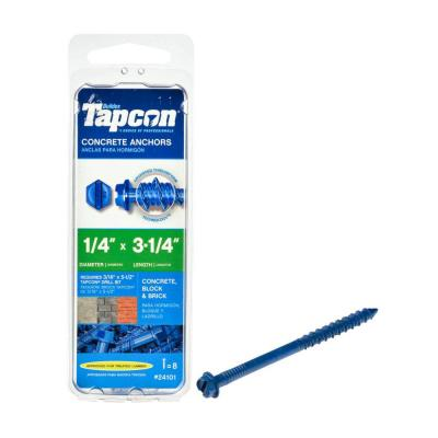Tapcon 1/4 in. x 3-1/4 in. Polymer Plated Steel Hex-Washer-Head Concrete Anchors (8-Pack)