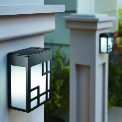 Hampton Bay Solar Powered Black Outdoor LED Mission Deck Light (2-Pack)