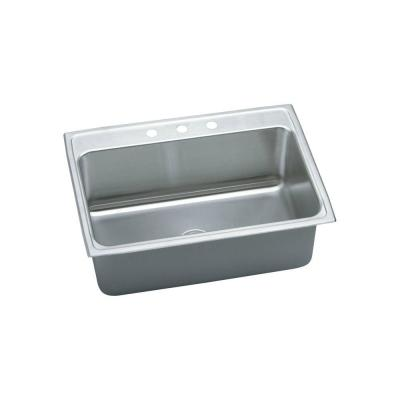 Elkay Gourmet Top Mount Stainless Steel 31 in. 3-Hole Single Bowl Kitchen Sink in Lustrous Satin