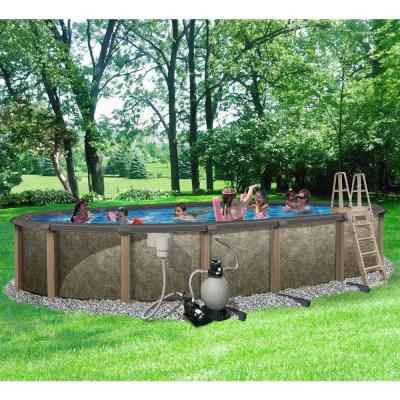 Riviera Oval Above Ground Pool Package 54 in. Deep