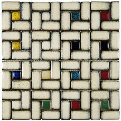 Merola Tile Essence Spiral Cascade 12 in. x 12 in. x 9 mm Porcelain Mosaic Tile