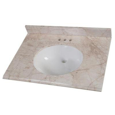 31 in. Stone Effects Vanity Top in Dune with White Basin