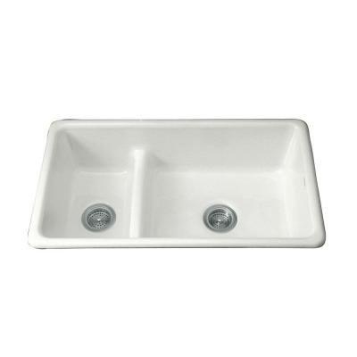 Iron/Tones Smart Divide Top-Mount/Undermount Cast-Iron 33 in. Double Bowl
