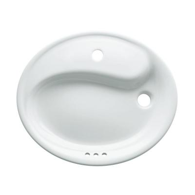 Yin-Yang Wading Pool Drop-In Vitreous China Bathroom Sink in White with Overflow Drain Product Photo