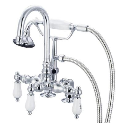 3-Handle Claw Foot Tub Faucet with Labeled Porcelain Lever Handles and