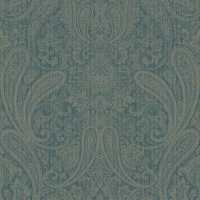 8 in. x 10 in. Ludlow Blue Paisley Wallpaper Sample