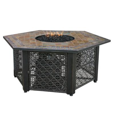 21 in. Slate Tile Hexagon Propane Gas Fire Pit in Bronze Product Photo