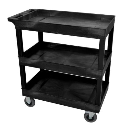 Luxor 18 in. x 32 in. 3-Tub Shelf Plastic Utility Cart with 5 in. Semi-Pneumatic Casters, Black