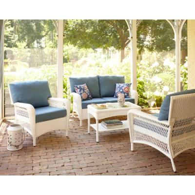 Great Martha Stewart Living Charlottetown White All Weather Wicker Patio Lounge  Chair With Washed Blue Cushion 65 619556/1   The Home Depot