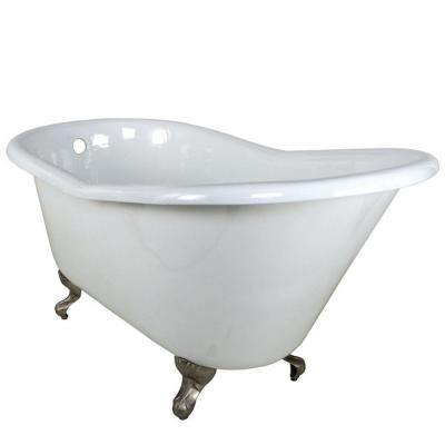 Aqua Eden 5 ft. Cast Iron Satin Nickel Claw Foot Slipper Tub in White