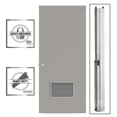 Gray Flush Steel Prehung Commercial Louvered Unit with Hardware
