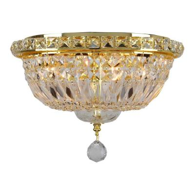 Empire Collection 4-Light Gold Ceiling Light with Clear Crystal Product Photo