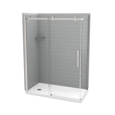 32 in. x 60 in. x 83.5 in. Direct-to-Stud Left Corner Shower Kit in Metro Ash Grey with Chrome Door Product Photo