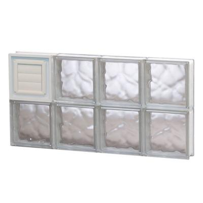 Frameless Wave Pattern Glass Block Window with Dryer Vent