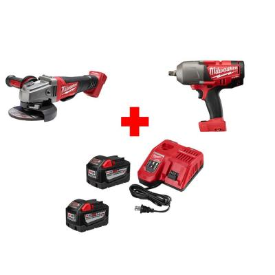 Milwaukee M18 Fuel 18-Volt Lithium-Ion Cordless 4-1/2 in. Grinder and 1/2 in. Impact Wrench Combo 9.0Ah Battery Kit (2-Tool)