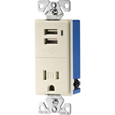 Eaton 15 Amp Decorator USB Charging Electrical Outlet - Light Almond