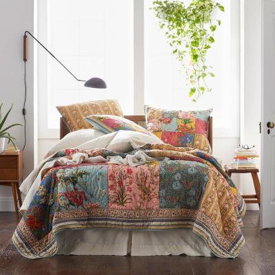 Rani Vintage Floral Reversible Cotton Patchwork Quilt
