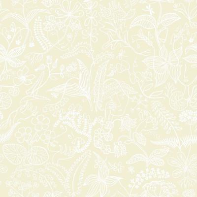 57.5 sq. ft. Beige Floral Silhouette Wallpaper