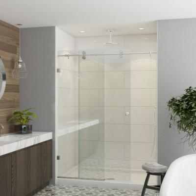 Model 7800 - 56 to 60 in. X 66 in. Frameless Clear Duratuf Heavy Tempered Safety Glass Sliding Shower Door