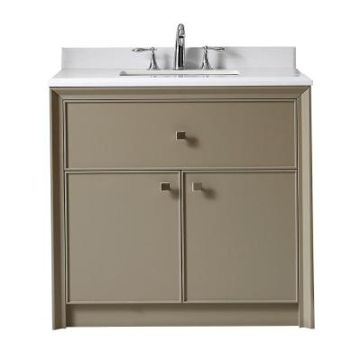 Martha Stewart Living Parrish 36 in. W x 22 in. D Vanity in Mushroom with Marble Top in Yves White with White Basin