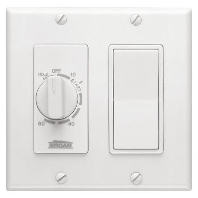 Broan-NuTone 15 Amp 60-Minute In-Wall Dial Timer with Rocker Switch - White